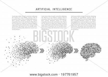 Banner artificial intelligence, isolated on white background with place for text