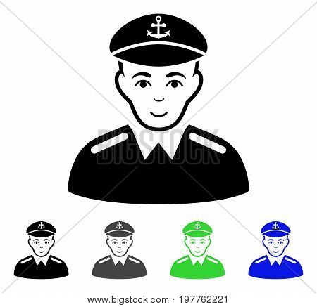 Captain flat vector pictogram. Colored captain gray, black, blue, green icon variants. Flat icon style for web design.