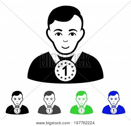 Champion flat vector icon. Colored champion gray, black, blue, green icon versions. Flat icon style for application design.
