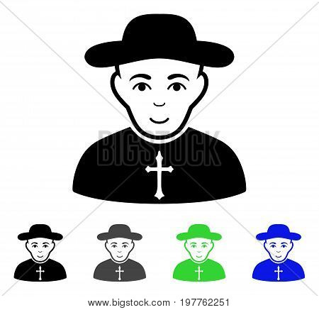 Christian Priest flat vector icon. Colored christian priest gray, black, blue, green icon versions. Flat icon style for web design.