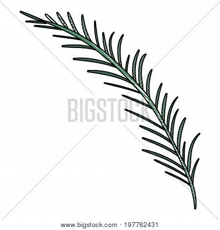 white background of colored crayon silhouette of branch with linear leaves vector illustration