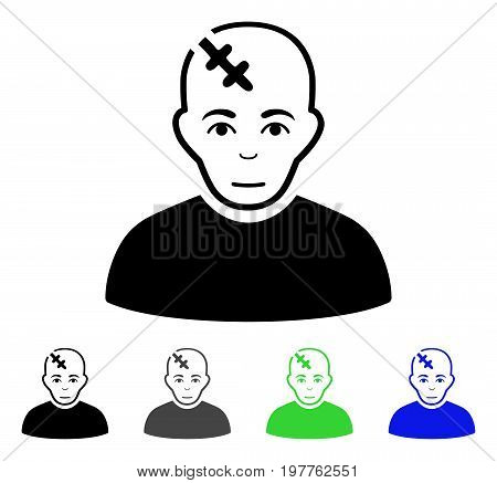 Head Hurt flat vector pictograph. Colored head hurt gray, black, blue, green icon variants. Flat icon style for web design.