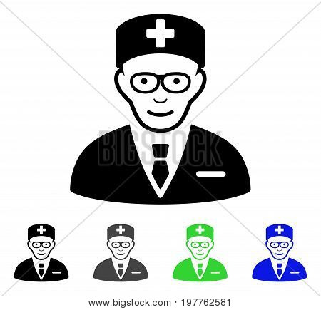 Head Physician flat vector illustration. Colored head physician gray, black, blue, green pictogram versions. Flat icon style for graphic design.