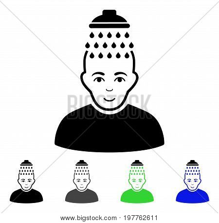 Head Shower flat vector pictograph. Colored head shower gray, black, blue, green icon variants. Flat icon style for graphic design.