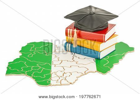 Education in Nigeria concept 3D rendering isolated on white background
