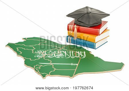 Education in Saudi Arabia concept 3D rendering isolated on white background