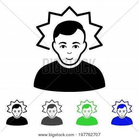 Inventor flat vector pictogram. Colored inventor gray, black, blue, green icon versions. Flat icon style for web design.