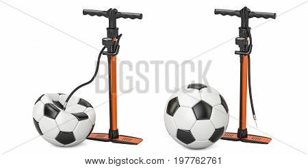 High pressure hand pumps with inflated and deflated soccer balls 3D rendering