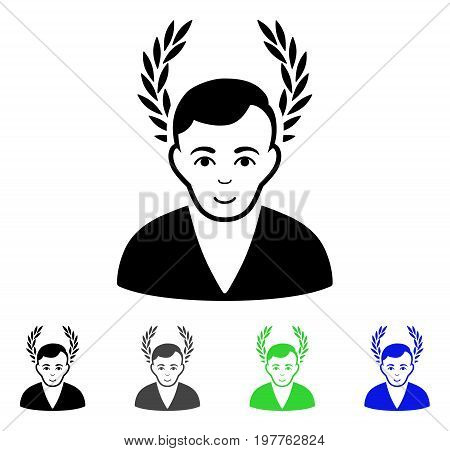 Man Glory flat vector icon. Colored man glory gray, black, blue, green pictogram variants. Flat icon style for graphic design.