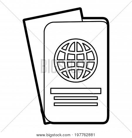 Flat line uncolored passport over white background vector illustration