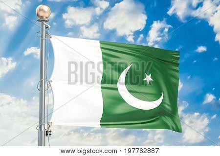 Pakistani flag waving in blue cloudy sky 3D rendering