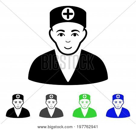 Medic flat vector pictograph. Colored medic gray, black, blue, green pictogram variants. Flat icon style for graphic design.