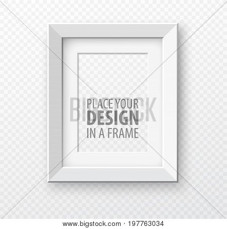 Vertical frame mock up on transparence background with realistic shadows. Vector illustration EPS10
