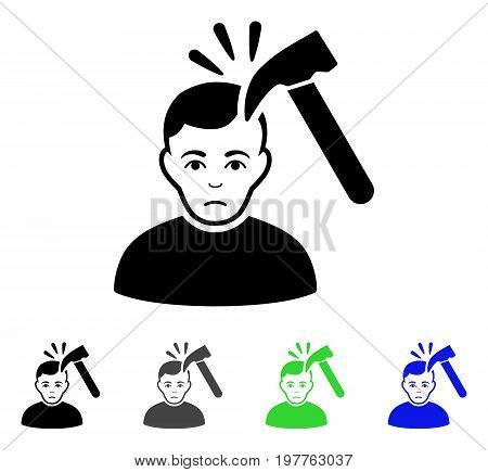 Murder With Hammer flat vector icon. Colored murder with hammer gray, black, blue, green icon versions. Flat icon style for web design.
