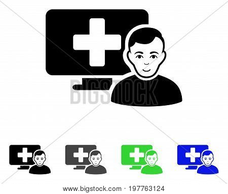 Online Medicine flat vector pictogram. Colored online medicine gray, black, blue, green pictogram versions. Flat icon style for application design.
