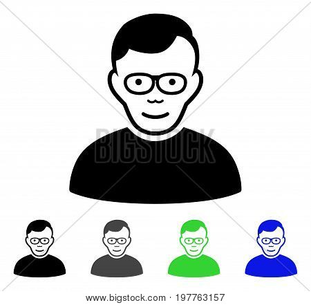 Pensioner flat vector pictograph. Colored pensioner gray, black, blue, green icon variants. Flat icon style for application design.
