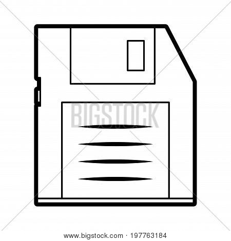 Flat line uncolored diskette over white background vector illustration