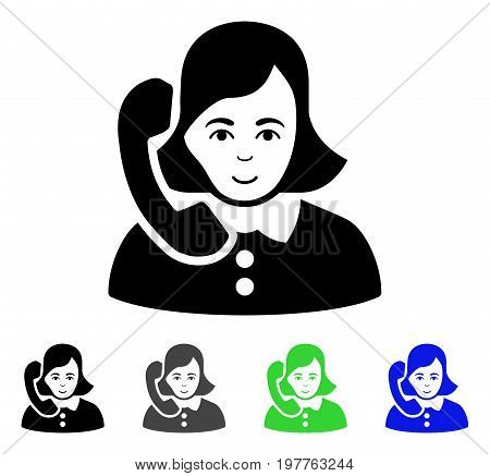 Receptionist flat vector illustration. Colored receptionist gray, black, blue, green pictogram versions. Flat icon style for graphic design.