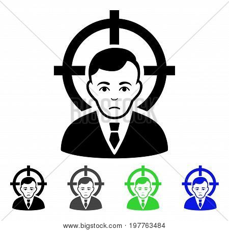 Victim Businessman flat vector illustration. Colored victim businessman gray, black, blue, green pictogram versions. Flat icon style for web design.