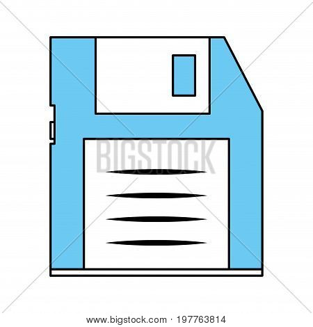 Flat line monocromatic diskette over white background vector illustration