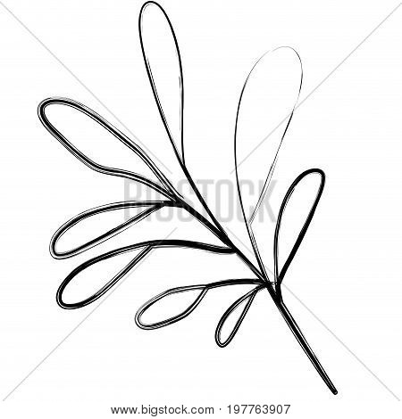 monochrome blurred silhouette of branch with oval leaves in closeup vector illustration