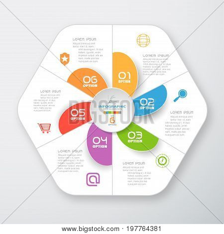 Vector infographic of white hexagonal form and color segments cut from paper with shadow gray text and color icons on the gradient gray background.