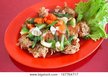Cobra snake in sweet and sour sauce with vegetable extreme food cuisine