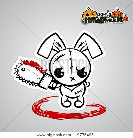 Ugly angry monochrome thread needle sewing voodoo doll. Halloween evil bunny rabbit cartoon funny monster electric saw blood. Pop art wow comic book text party. Vector illustration sticker paper.
