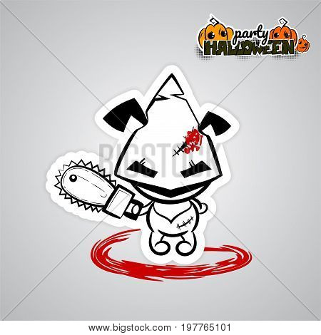 Halloween evil dog puppy cartoon funny monster blood saw. Pop art wow comic book text poster party. Ugly angry monochrome thread needle sewing voodoo doll. Vector illustration sticker paper.