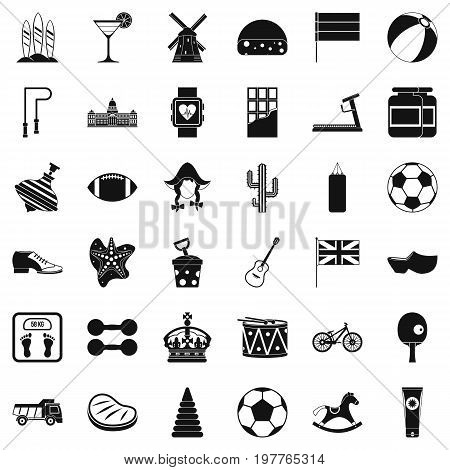 Play icons set. Simple style of 36 play vector icons for web isolated on white background