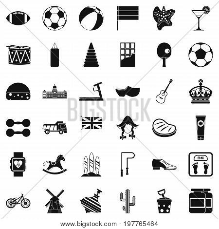 Sport icons set. Simple style of 36 sport vector icons for web isolated on white background