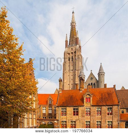 Gothic tower of Church of Our Lady in Bruges is the second tallest brickwork tower in the world.