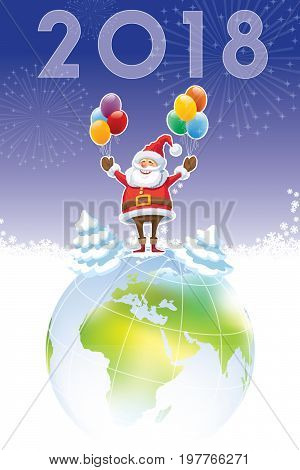 Smiling Santa Claus standing on a top of world globe New Year 2018 in the sky.