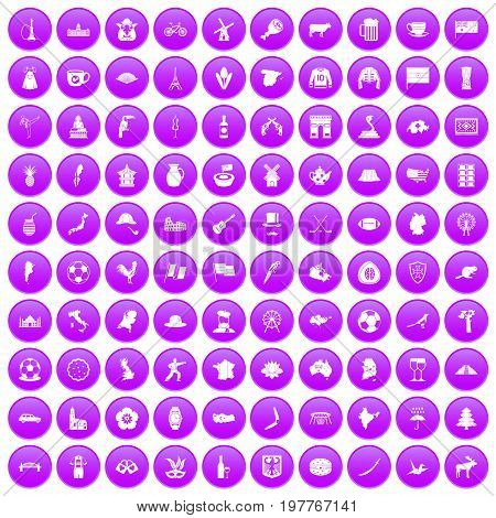100 map icons set in purple circle isolated on white vector illustration