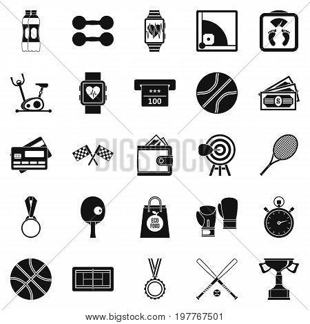 Basketball training icons set. Simple set of 25 basketball training vector icons for web isolated on white background