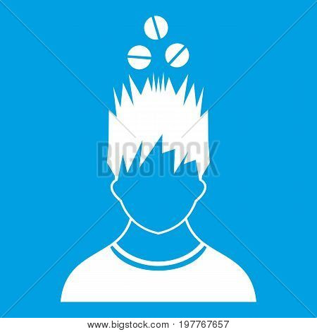 Man with tablets over head icon white isolated on blue background vector illustration