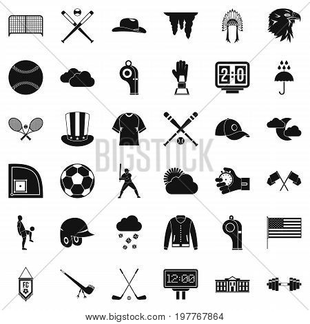 Play baseball icons set. Simple style of 36 play baseball vector icons for web isolated on white background