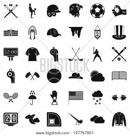 Baseball bat icons set. Simple style of 36 baseball bat vector icons for web isolated on white background
