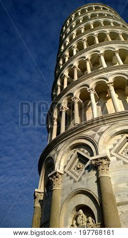 Pisa Tower in Italy, with cloudy sky