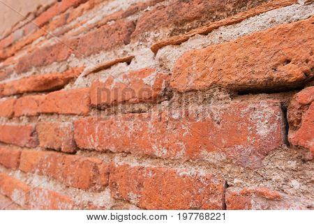 Close up the olden bricks vintage wall