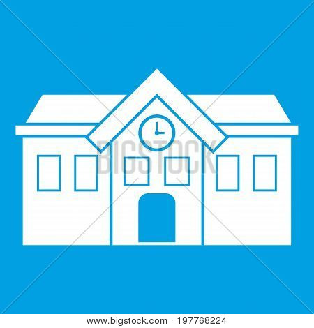 Chapel icon white isolated on blue background vector illustration