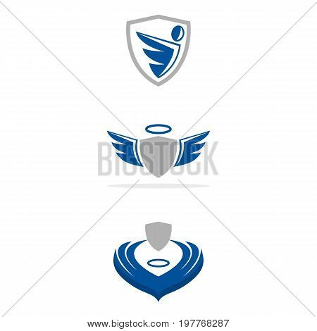 A set of guardian angel icons in different styles