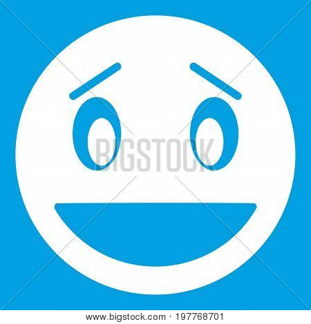 Confused emoticon white isolated on blue background vector illustration
