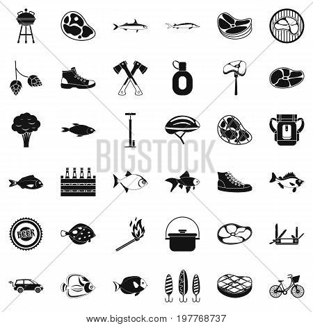 Bbq rest icons set. Simple style of 36 bbq rest vector icons for web isolated on white background