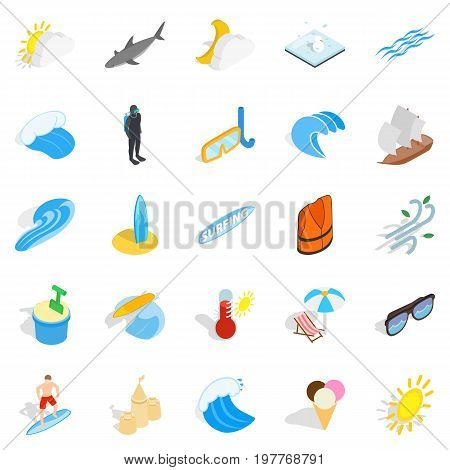 Rescuers icons set. Isometric set of 25 rescuers vector icons for web isolated on white background