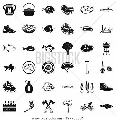 Bbq relaxation icons set. Simple style of 36 bbq relaxation vector icons for web isolated on white background