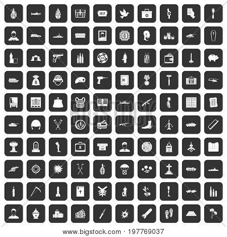 100 war crimes icons set in black color isolated vector illustration