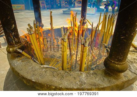 Incense area in Ngong Pin, Lantau Island for visitors to pray in Po Lin Monastery, Lantau Island in Hong Kong.