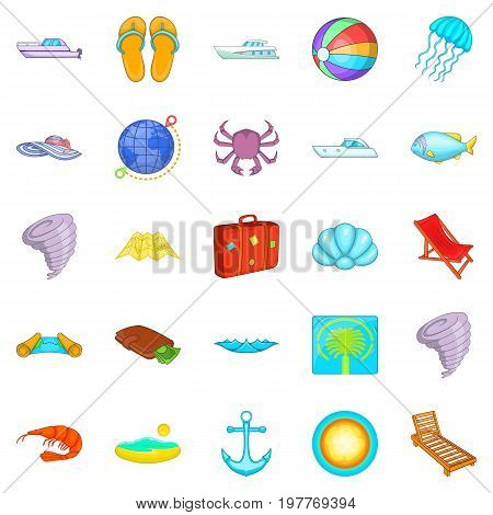 Relax on the ship icons set. Cartoon set of 25 relax on the ship vector icons for web isolated on white background