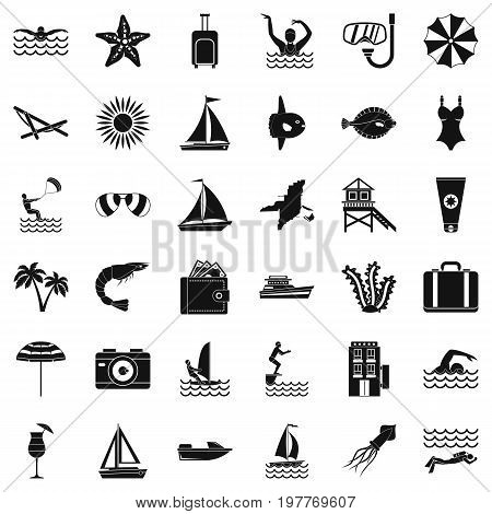 Rest in beach icons set. Simple style of 36 rest in beach vector icons for web isolated on white background